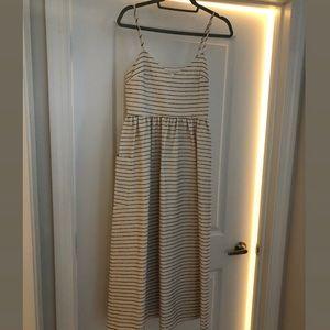 Mara Hoffman Striped Cotton Blend Midi Dress Cream